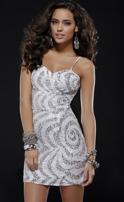 Scala 14243 Swirl Silver Sequin Homecoming Cocktail Dress: French ...
