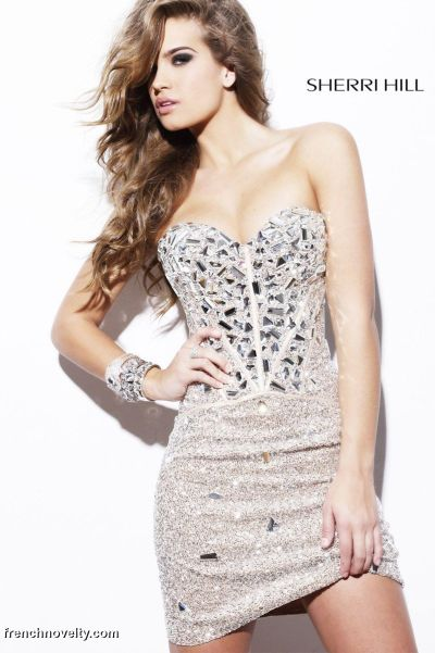 Sherri Hill Cut-Out Beaded Corset Cocktail Prom Dress 1429: French ...
