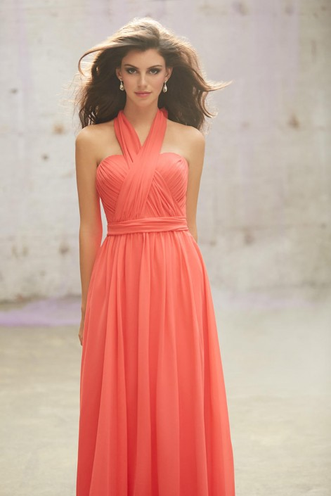Allure 1432 Convertible Chiffon Long Bridesmaid Gown: French Novelty
