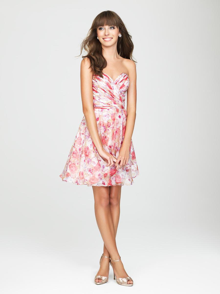 Allure 1435 short floral print bridesmaid dress french for Allure short wedding dress