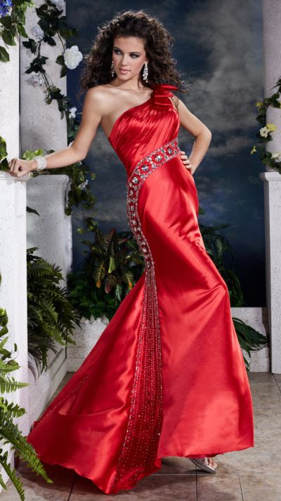 Panoply Beaded One Shoulder Bow Prom Dress 14385: French Novelty