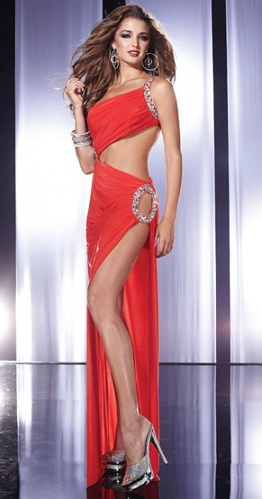 Red Prom Dresses with Cutouts