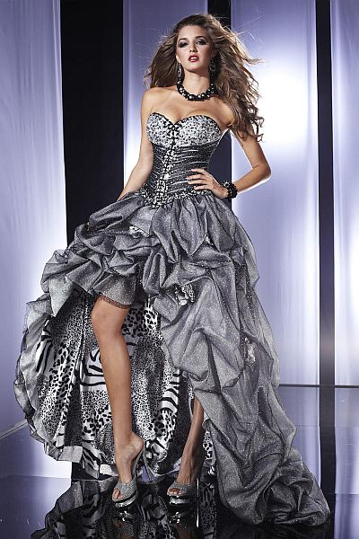 Panoply Steel Tiger Glitter Tulle High Low Prom Dress 14458 ...