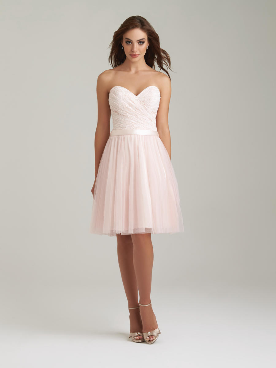 Allure 1451 short lace tulle bridesmaid dress french novelty for Allure short wedding dress