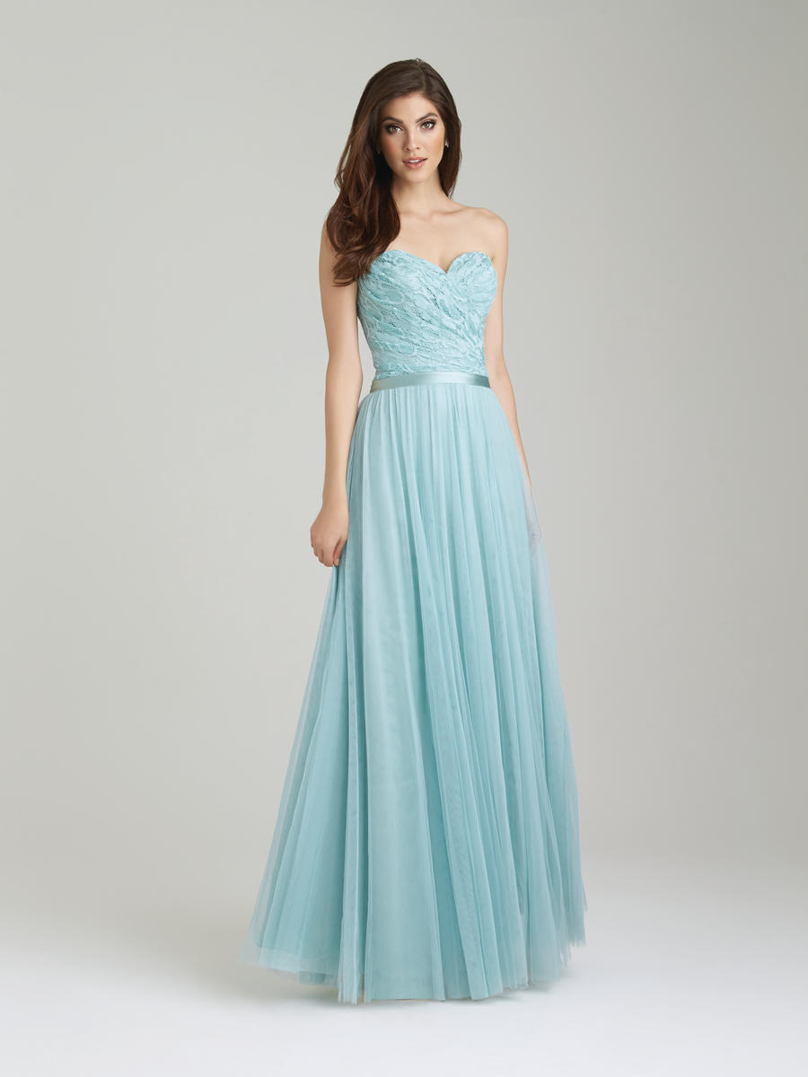 Size 12 waterfall allure 1452 long lace tulle bridesmaid for Waterfall design dress
