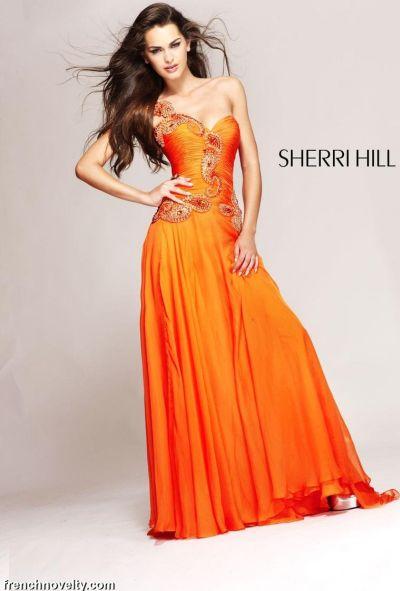Orange Sherri Hill Prom Dresses