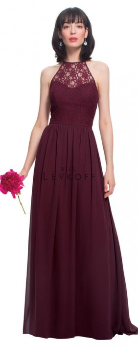 5f10710c469 Bill Levkoff 1462 Lace Halter Neck Bridesmaid Dress  French Novelty