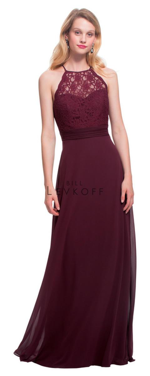 b5f282b9c2e Bill Levkoff 1464 Lace Halter Top Bridesmaid Dress  French Novelty