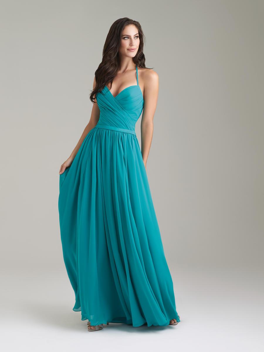 Size 10 Teal Allure 1467 Halter Chiffon Long Bridesmaid Dress ...
