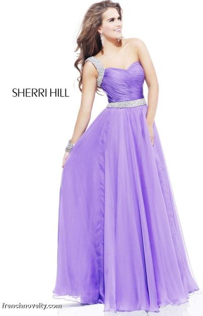 Sherri Hill Long One Shoulder Prom Dress 1471: French Novelty