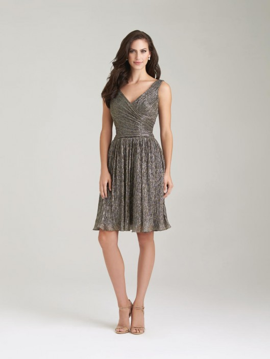 Allure 1475 V Neck Shimmer Knit Short Bridesmaid Dress: French Novelty