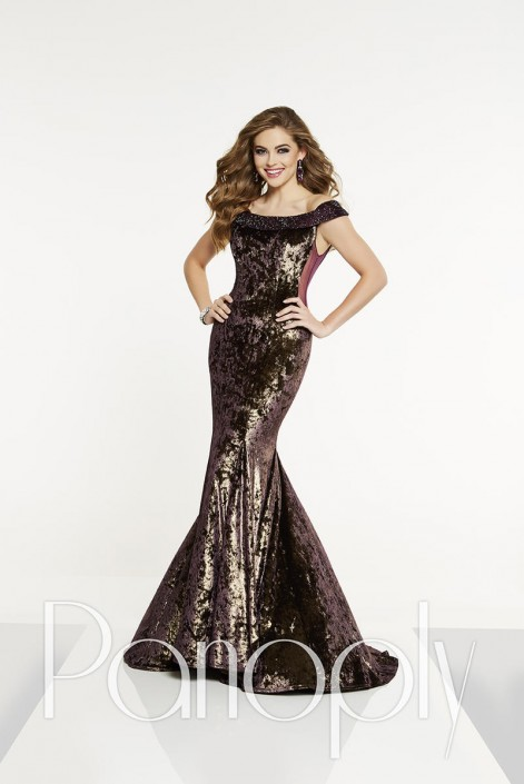 9c7e5646c16 Panoply 14897 Off Shoulder Crushed Velvet Gown  French Novelty