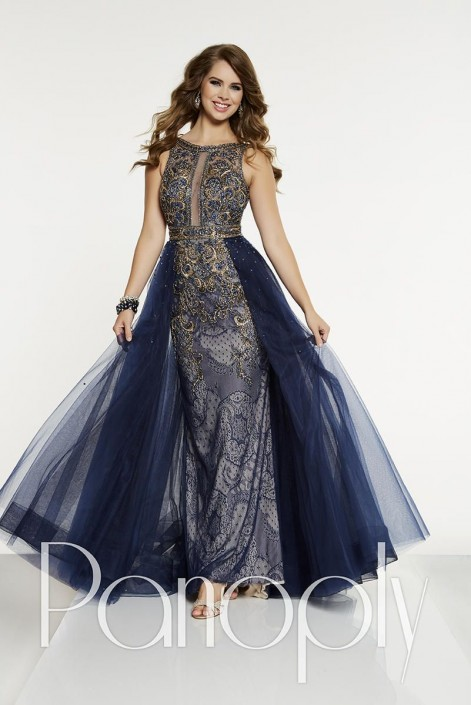 Panoply 14906 Beaded Lace Gown with Tulle Overskirt: French Novelty