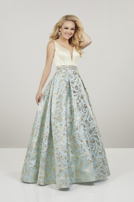 aacd61f0ec1 Panoply 14931 Metallic Floral Prom Gown  French Novelty