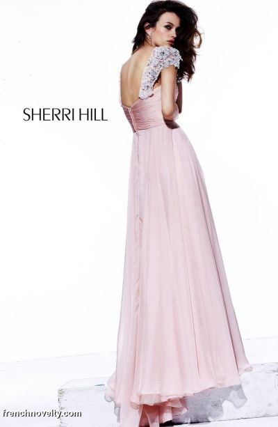 Sherri Hill Long Beaded Cap Sleeve Prom Dress 1495: French Novelty