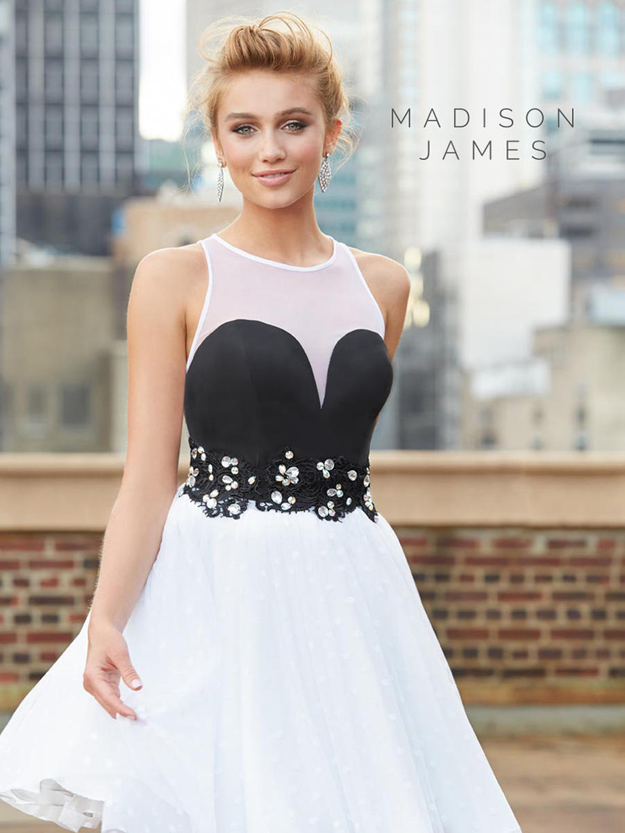 Madison James 15-101 Short Swiss Dot Prom Dress: French Novelty