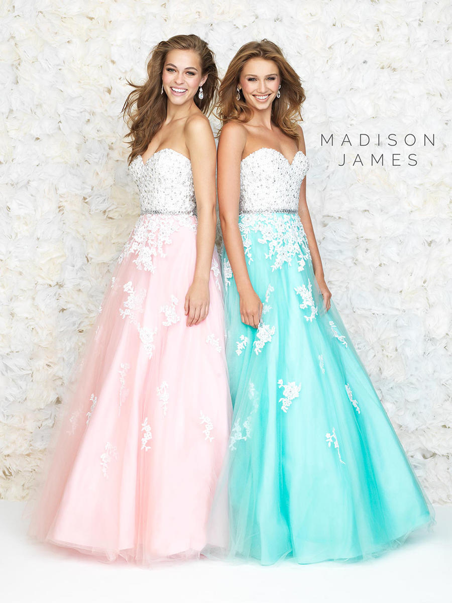 Madison James 15-126 Gown with Floral Appliques: French Novelty