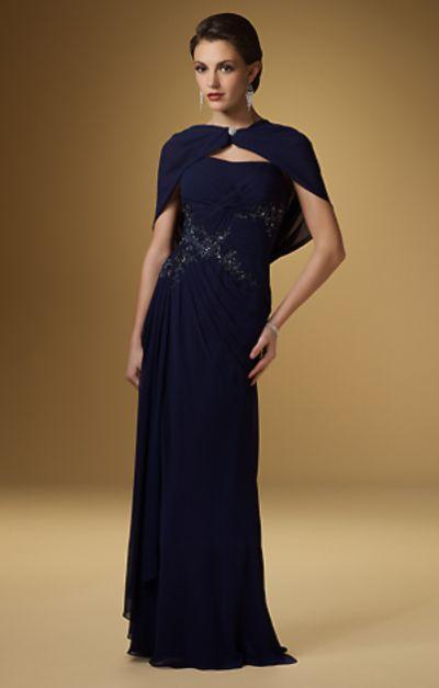 Rina di Montella 1511 Evening Dress with Shawl: French Novelty