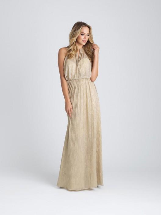Size 12 Gold Allure 1514 Draped Liquid Metallic Bridesmaid Dress