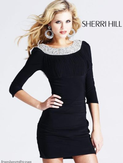 wide varieties choose original attractivedesigns Sherri Hill Black Long Sleeve Beaded Cocktail Dress 1522