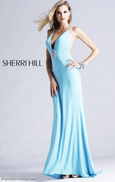 Sherri Hill Long V Neck Prom Dress with Cut-Out Back 1524: French ...