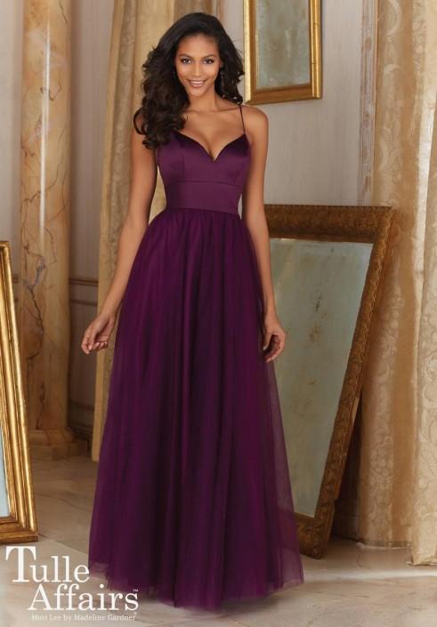Mori Lee Tulle Affairs 153 Satin Bodice Bridesmaid Gown