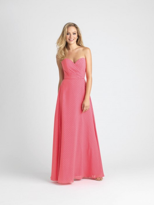 Size 10 Salmon Allure 1540 Dotted Chiffon Bridesmaid Gown: French ...