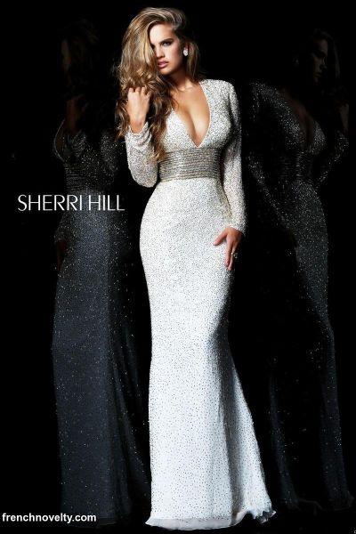 sherri hill 1559 long sleeve formal dress  french novelty