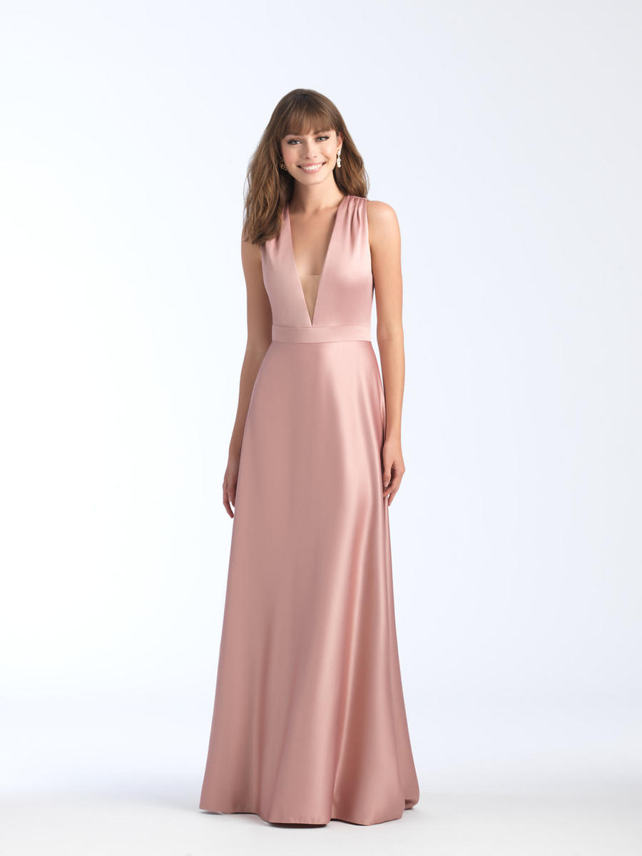 Allure 1564 Deep V Neck Crepe Bridesmaid Dress: French Novelty
