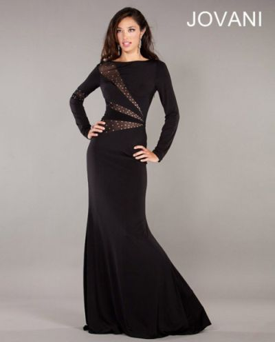 Jovani 1568 Modest Evening Dress: French Novelty