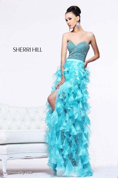 Sherri Hill 51205 Floral Print 2pc High Low Dress: French