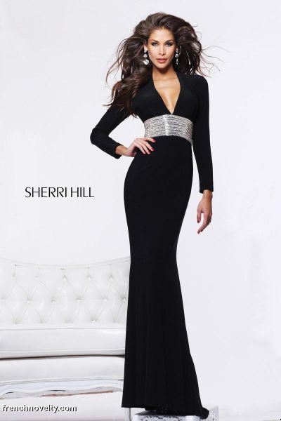 Sherri Hill 1580 Long Sleeve Deep V Gown: French Novelty