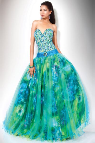 Collection Blue And Green Dresses For Prom Pictures - Reikian