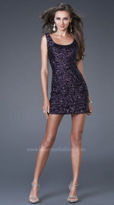 La Femme Short Sequin Tank Top Prom Dress 15846: French Novelty