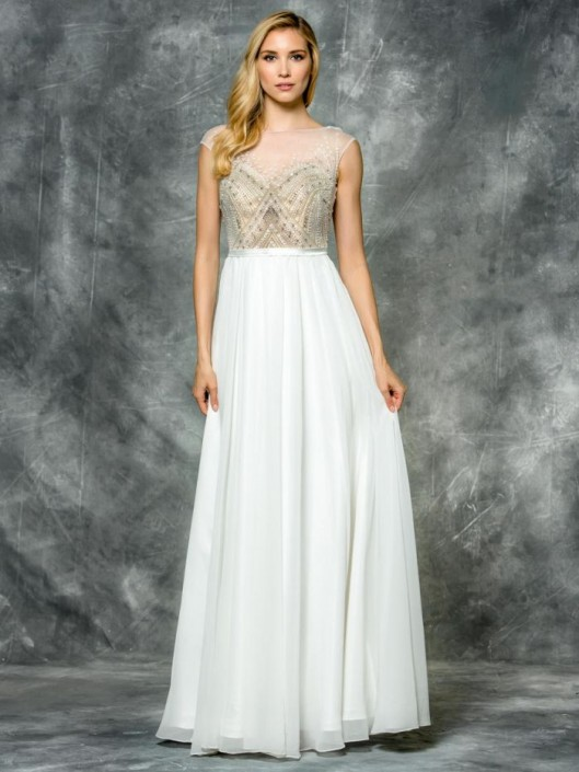 Size 12 Ivory Colors 1586 Beaded Illusion Prom Dress: French Novelty