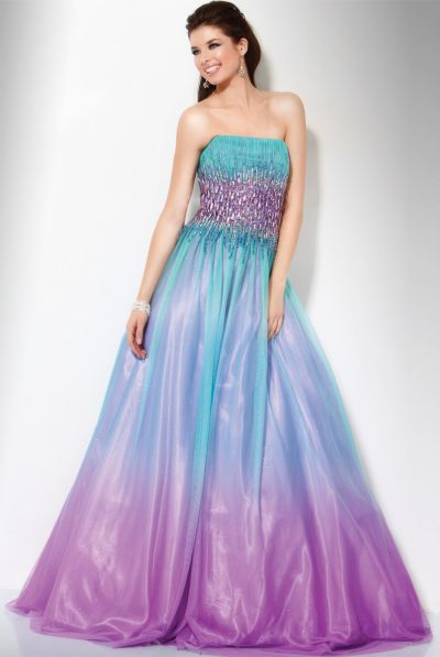 Jovani Aqua Purple Ombre Glitter Ball Gown 158903: French Novelty