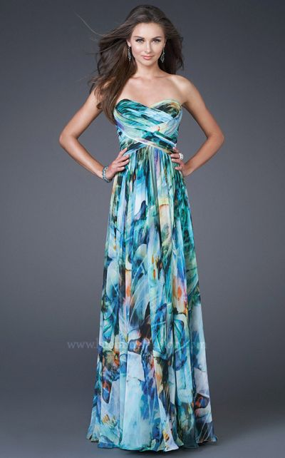 Watercolor Print Prom Dresses 2011 La Femme Chiffon 15961: French ...