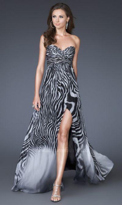 Zebra print chiffon prom dress la femme black and white for Zebra print wedding dress