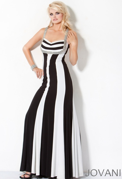 Jovani Black And White Long Prom Dress With Beading 159898 French