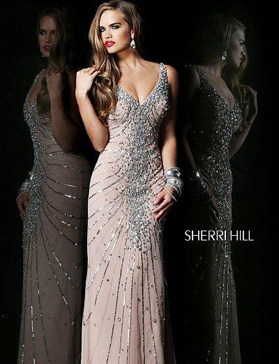 Sherri Hill 1599 Deep V Neck Formal Dress: French Novelty