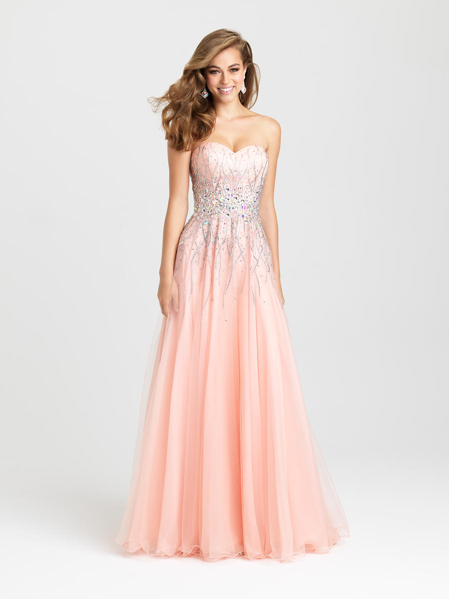 Madison James 16-369 Soft A-Line Evening Gown: French Novelty