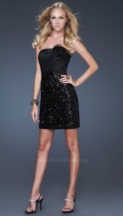Gigi Short Black Sequin Prom Dress With Flower 16047 By La