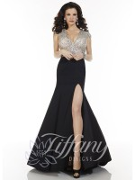 Tiffany Designs 16064 V Neck Jersey Evening Dress image