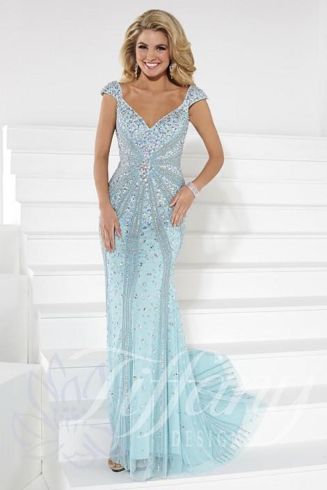 Tiffany Designs 16092 Slimming Formal Dress: French Novelty