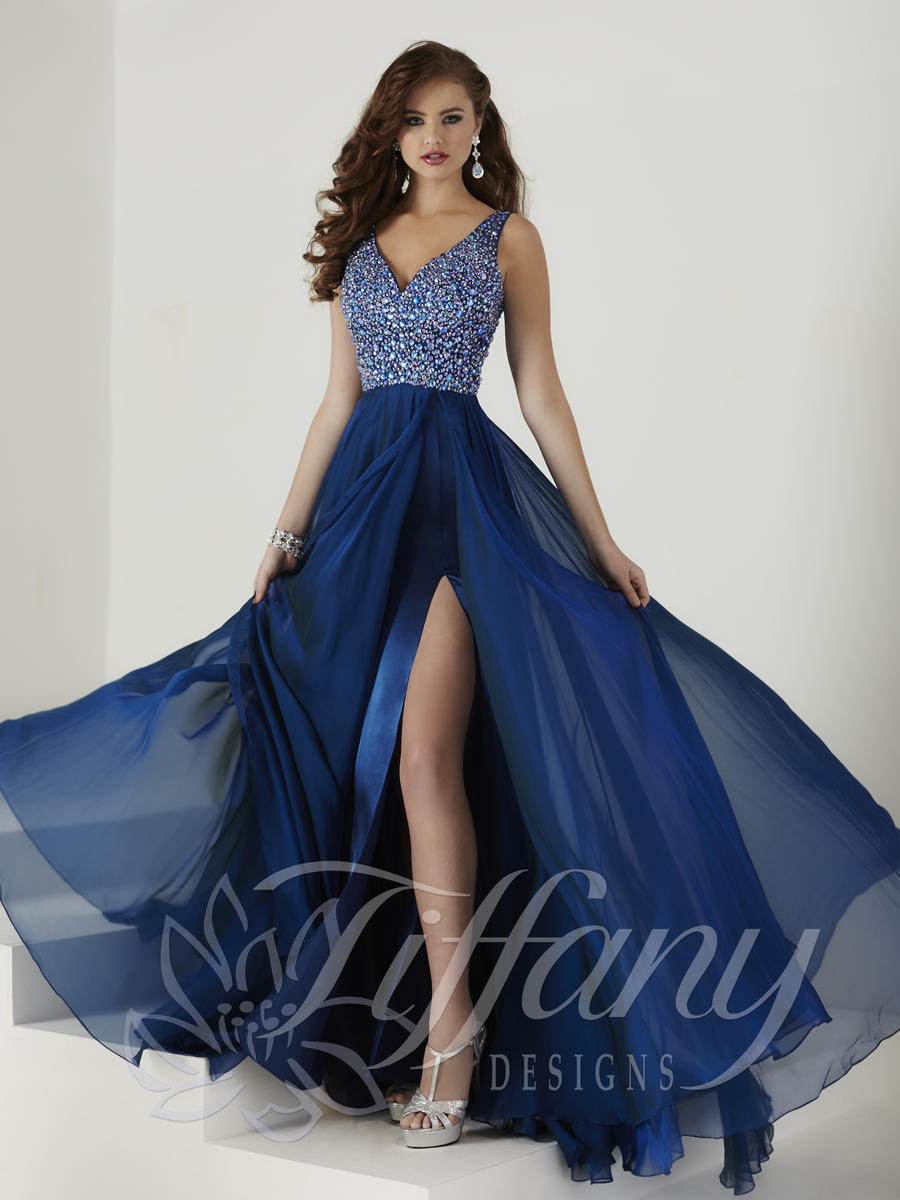 Tiffany Designs 16141 Prom Gown with Iridescent Stones: French Novelty