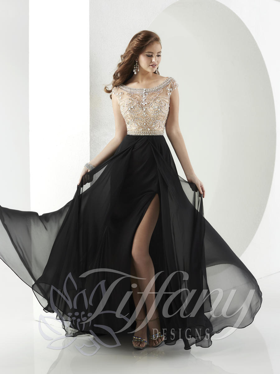Tiffany Designs 16148 Chiffon Prom Gown With Ab Stones
