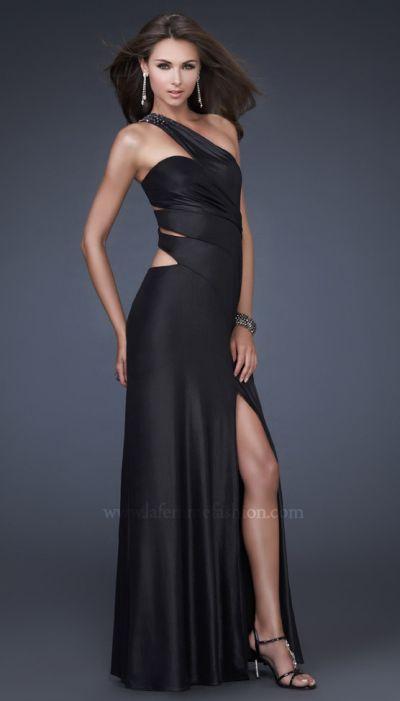 Hot Prom Dresses 2011 La Femme Jersey Black Prom Dress 16158 ...