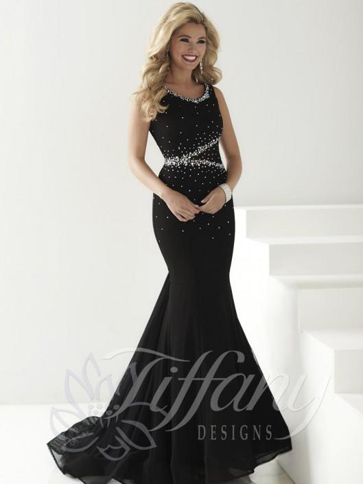 fc9c5faf95f Tiffany Designs 16161 Asymmetrical Beaded Mermaid Dress  French Novelty