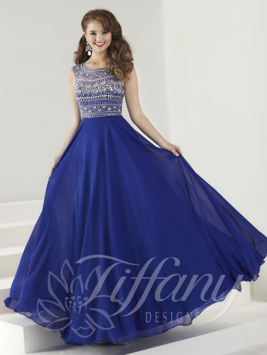Tiffany Designs 16184 A-Line Evening Gown: French Novelty