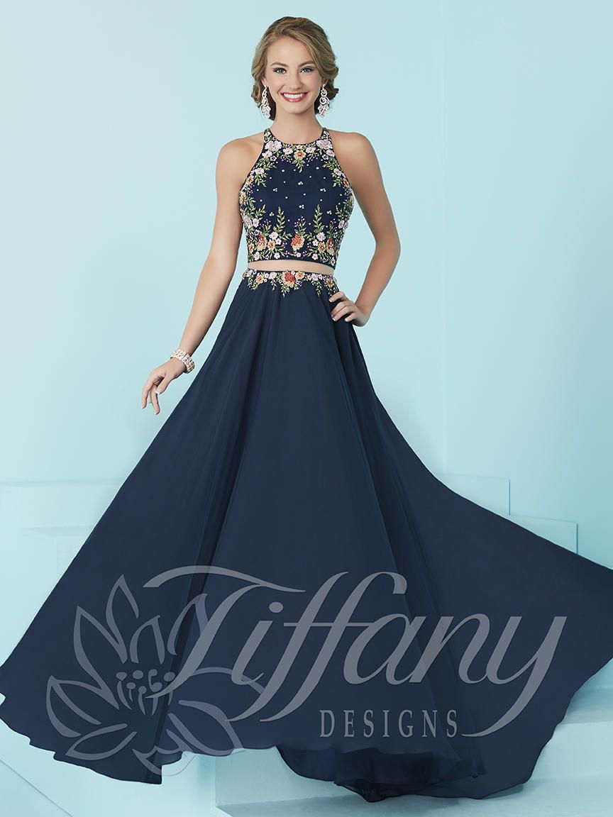 Tiffany Designs 16206 Halter 2pc Prom Dress French Novelty